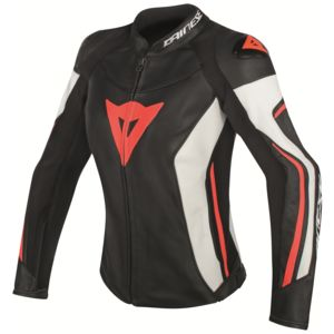 Dainese Assen Women's Leather Jacket Black/White/Fluo Red / 48 [Blemished - Very Good]