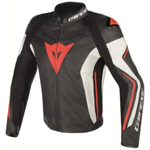 Dainese Assen Leather Jacket Black/White/Fluo Red / 56 [Blemished - Very Good]