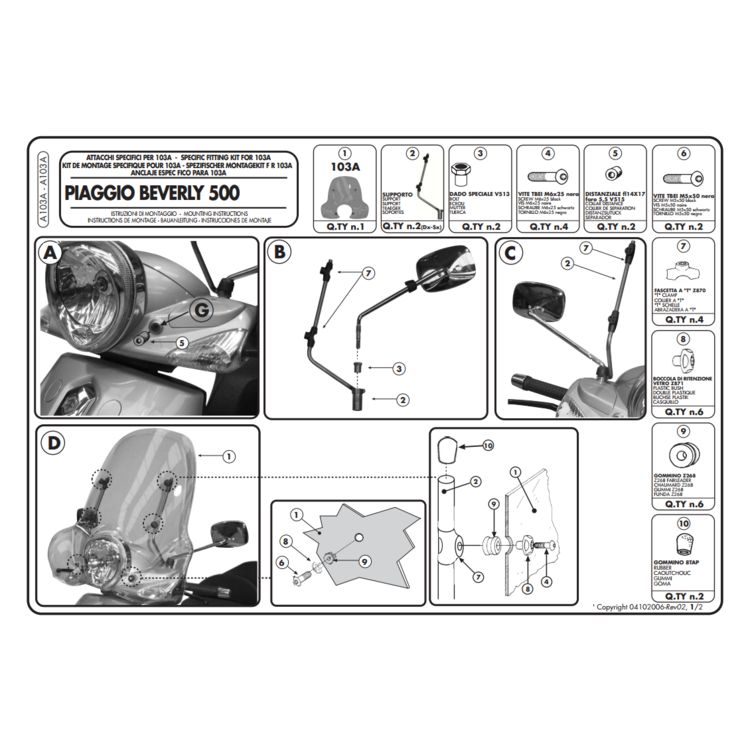 Givi A103A Windshield Fit Kit Piaggio Beverly BV 250/500 2004-2012