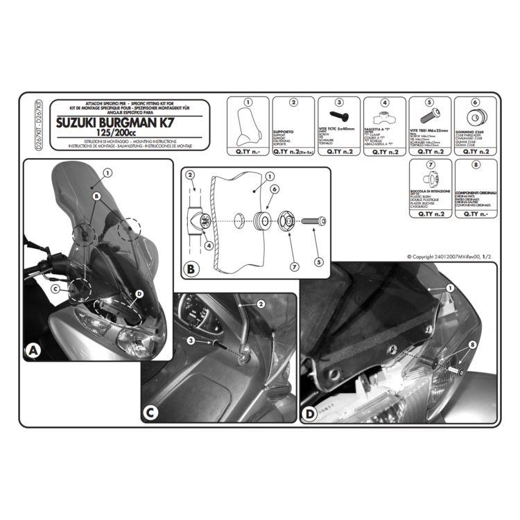 givi d267kit windshield fit kit suzuki burgman an200 2014-2019 - revzilla