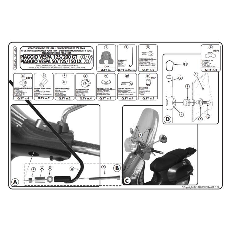 Givi A104A Windshield Fit Kit Vespa LX 2005-2014