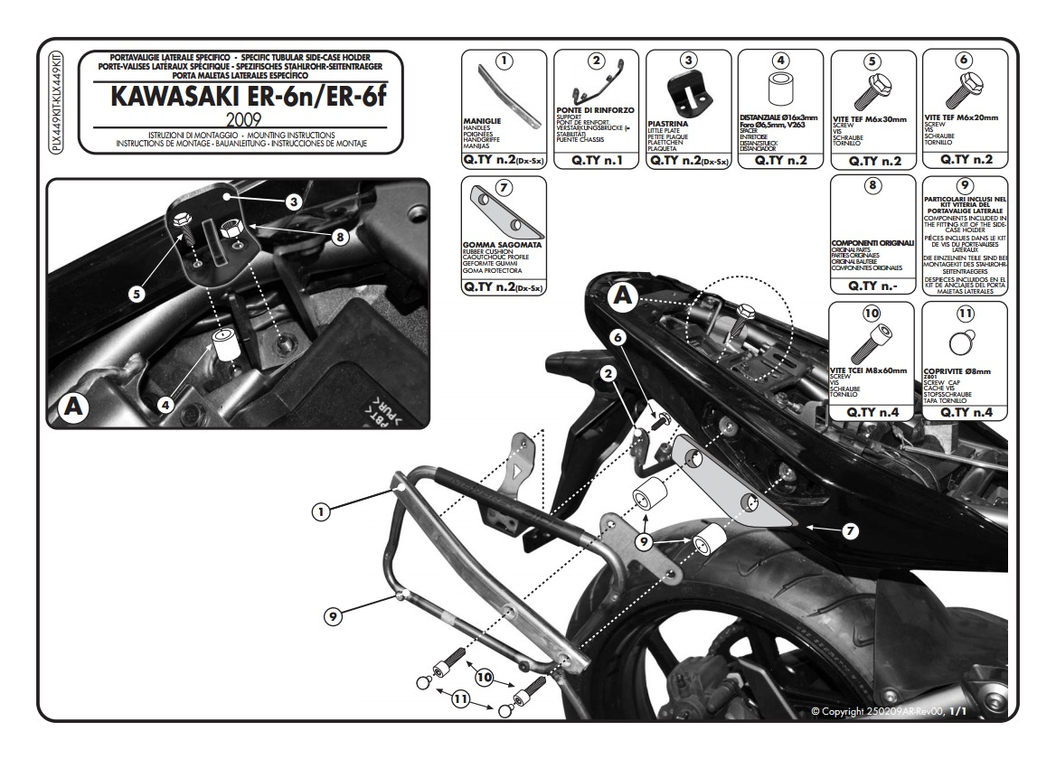 Kawasaki Er 6f Wiring Harness Givi Te266 Easylock Saddlebag Supports Ninja 650r 6n 2009 2011 10 1270 Off Revzilla