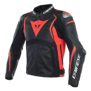 Dainese Mugello Leather Jacket Black/Black/Fluo Red / 56 [Demo - Good]
