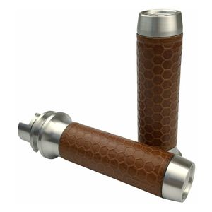 Brass Balls Cycles Leather Honeycomb Moto Grips For Indian