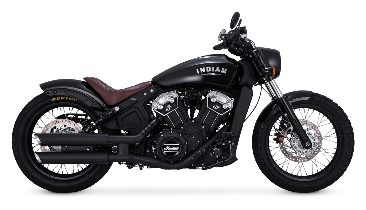 Black Fishtail Exhaust Slip-On Mufflers 2015-2018 Indian Scout Sixty Bobber