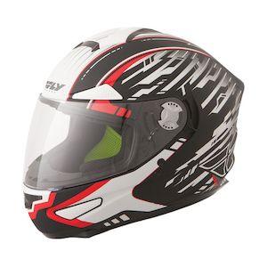 Fly Racing Street Luxx Shock Helmet Matte Black/White/Red / SM [Open Box]