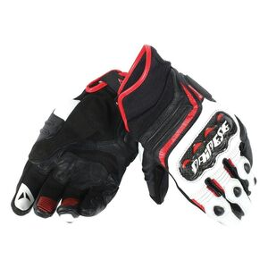 Dainese Carbon Short D1 Gloves Black/White/Lava Red / MD [Blemished - Very Good]