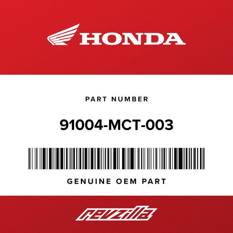 Honda BEARING, RADIAL BALL (6003U) 91004-MCT-003