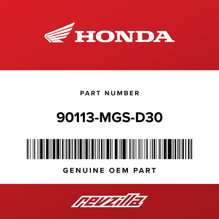 Honda SCREW, PAN (6X16.5) 90113-MGS-D30