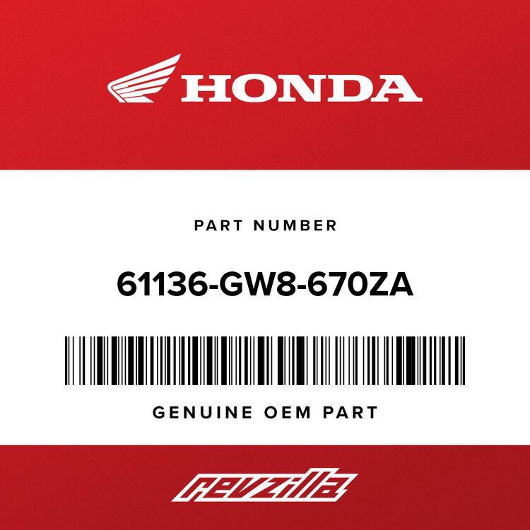 Honda PLATE, FR. NUMBER *NH138* (SHASTA WHITE) 61136-GW8-670ZA