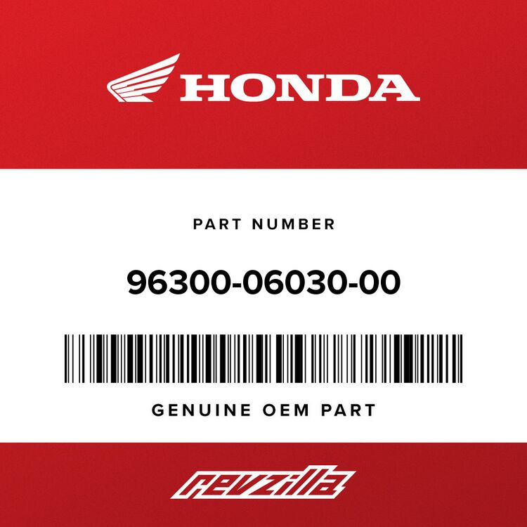 Honda BOLT, FLANGE (6X30) 96300-06030-00