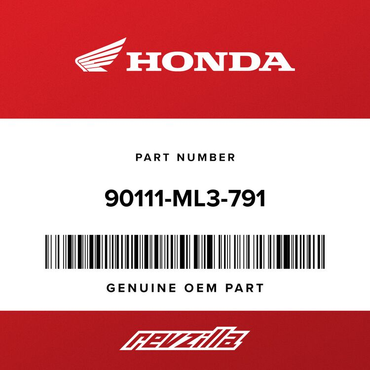 Honda BOLT SET, ADJUSTER 90111-ML3-791