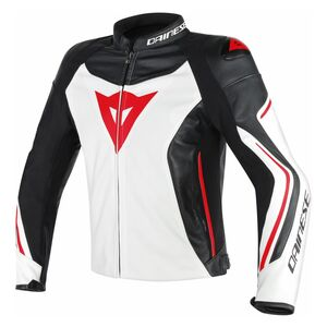 Dainese Assen Perforated Leather Jacket White/Black/Lava Red / 60 [Demo - Good]