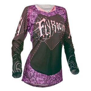 Fly Racing Dirt Kinetic Women's Jersey Black/Purple/Pink / LG [Demo - Good]
