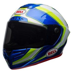 Bell Race Star Sector Helmet White/Hi-Viz Green/Blue / LG [Open Box]