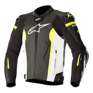 Alpinestars Missile Air Leather Jacket For Tech Air Race Black/White/Fluo Yellow / 52 [Blemished - Very Good]