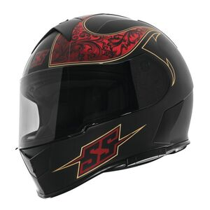 Speed and Strength SS900 Scrolls Helmet Black/Red / LG [Open Box]