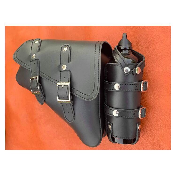 La Rosa Black Vinyl Saddle Bag with Fuel Bottle For Harley Sportster 2004-2021