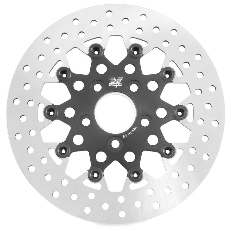 Twin Power Black Floating Mesh Rear Rotor For Harley 1984-2017