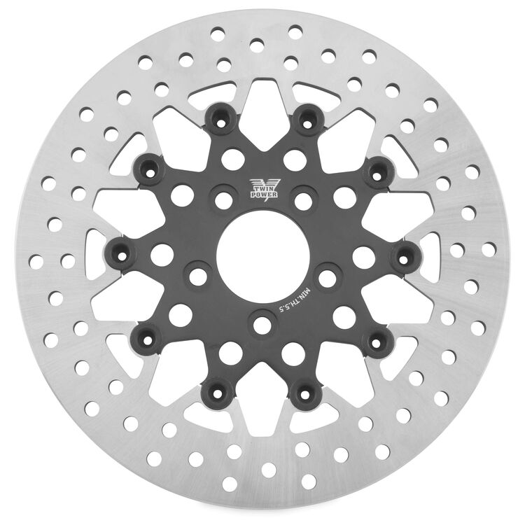 Twin Power Black Floating Mesh Rear Rotor For Harley Touring 2008-2021