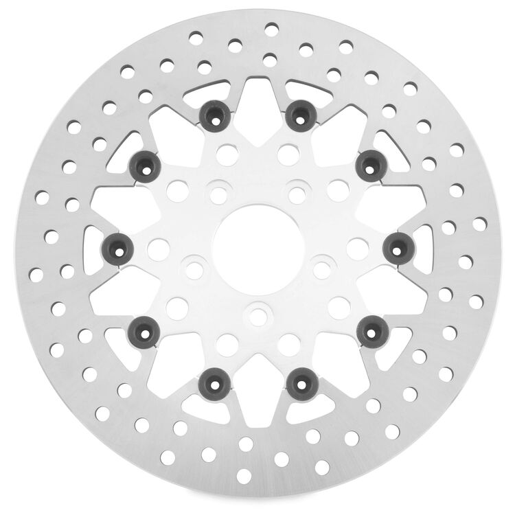 Twin Power Silver Floating Mesh Rear Rotor For Harley Touring 2008-2021