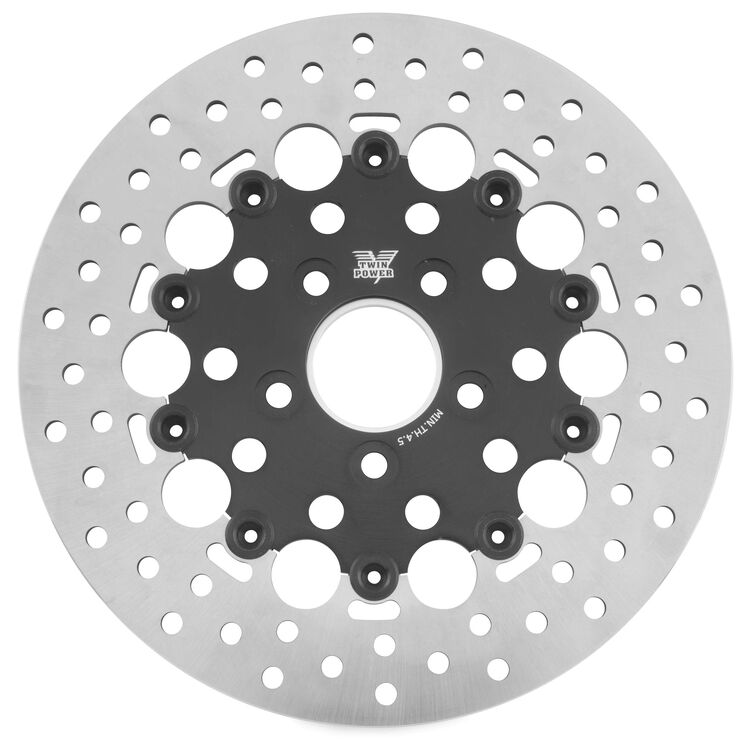 Twin Power Black Floating Hole Rear Rotor For Harley 1984-2017