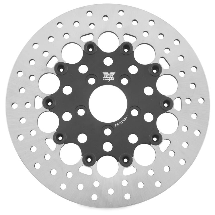Twin Power Black Floating Hole Rear Rotor For Harley Touring 2008-2021